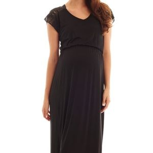 Black Everly Grey Maternity Maxi Dress with lace